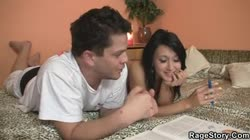 Guy gives his GF brutal blowjob and hard fucking lesson